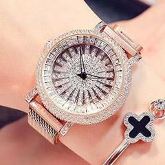 Korean Diamond Star Golden Watch