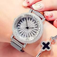 Korean Diamond Star Silver Watch