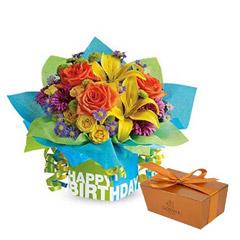 Mixed Flowers Vase Arrangement and Godiva Chocolate Combo