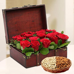 Rose Box Arrangement and Dry Fruits Combo