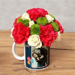 Carnations and Roses in Birthday Mug