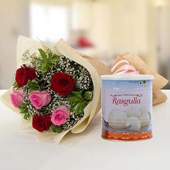 Splendid Roses Bouquet and Rasgulla Combo