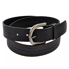Men Genuine Leather Belt with Multicolor stitches