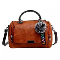 Pom Pom Keychain Brown Love Bag