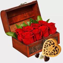 Box of Red Roses and Godiva Chocolates