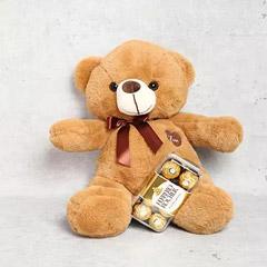 Light Brown Teddy Bear and Ferrero Rocher Chocolate Box