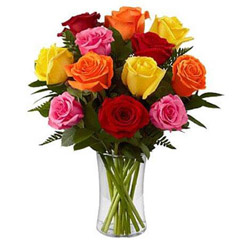 Dozen Mix Roses in a Glass