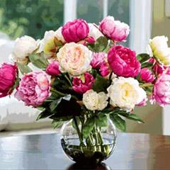 Artificial Mix Coloured Peonies