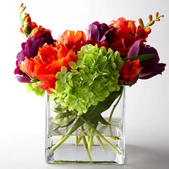 Artificial Mixed Flowers In Square Glass Vase