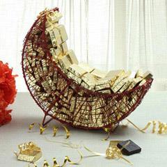 Golden Chocolates and Dates Basket