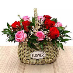 Red and Pink Roses Mini Basket