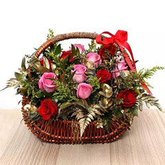 Red and Pink Roses Basket