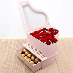 Roses and Chocolates Pink Heart Box