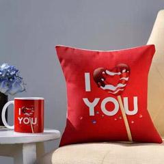I Love You Coffee Mug & Cushion Combo