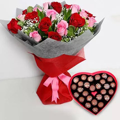 Pink and Red Roses Bouquet with Heartshaped Chocolates