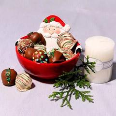 Santas Bowl Of Chocolate Strawberries
