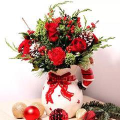 All Red Xmas Vase Arrangement