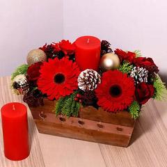 Wooden Basket Flower Arrangement
