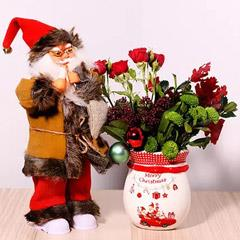 Ceramic Pot Of Xmas Flowers