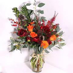 Orange Roses And Red Peonies Vase Arrangement