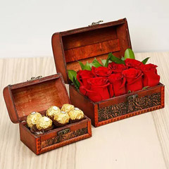 Passionate Red Roses and Chocolates Box