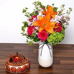 Vivid Mixed Flower Vase and Cake