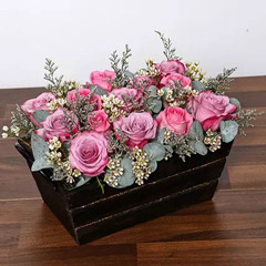 Purple and Pink Roses Basket