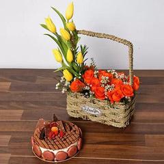 Orange Roses and Yellow Tulips Basket With Cake