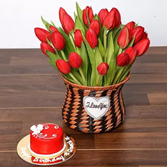 Blissful Red Tulips Basket and Cake