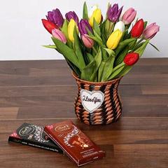 Quaint Mixed Tulips Basket and Chocolates