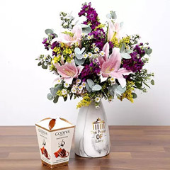 Pink and Purple Flowers In Vase With Truffles