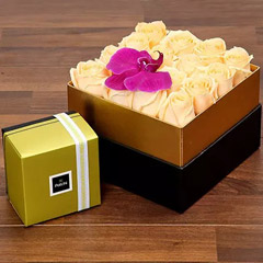 Beautiful Peach Rose Box and Patchi Chocolates