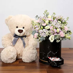 Pink and White Floral Box With Chocolates and Teddy