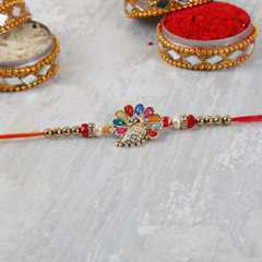 Colorful Designer Peacock Rakhi