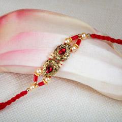 Pretty Golden And Red Rakhi