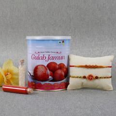 Spiritual Rakhi Gulab Jamun Combo