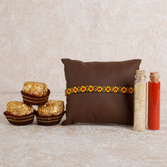 Beaded Rakhi And Chocolates Combo