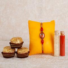 Designer Rakhi And Ferrero Rocher Combo