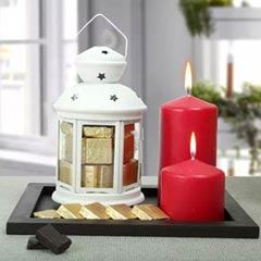 Assorted Chocolates and Red Candles Combo