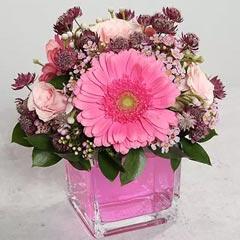 Pink Gerberas and Roses Arrangement